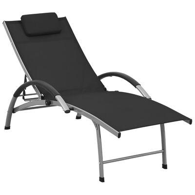 vidaXL Șezlong de plajă, negru, aluminiu & textilenă