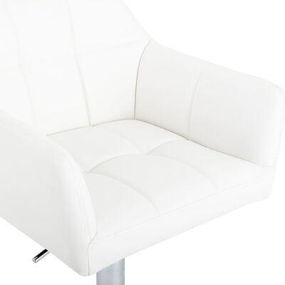 vidaXL Scaun de bar cu brațe, alb, piele ecologică
