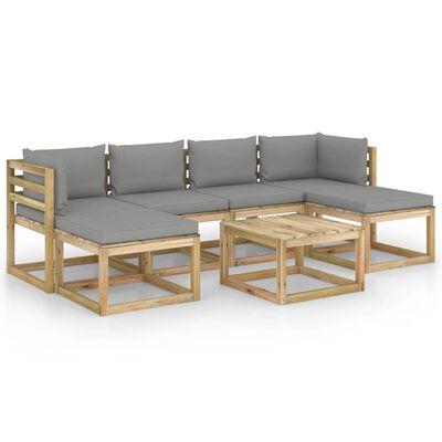 vidaXL Set mobilier de grădină cu perne, 7 piese, lemn de pin tratat