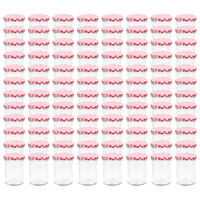 vidaXL Borcane de sticlă pentru gem capace alb & roșu 96 buc. 400 ml