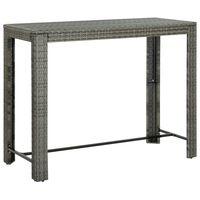 vidaXL Masă de bar de grădină, gri, 140,5 x 60,5 x 110,5 cm, poliratan