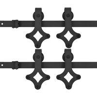 vidaXL Set feronerie pentru uși glisante, 2 piese,negru, 200 cm, oțel