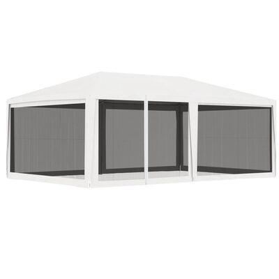 vidaXL Cort de petrecere cu 4 pereți din plasă, alb, 4 x 6 m