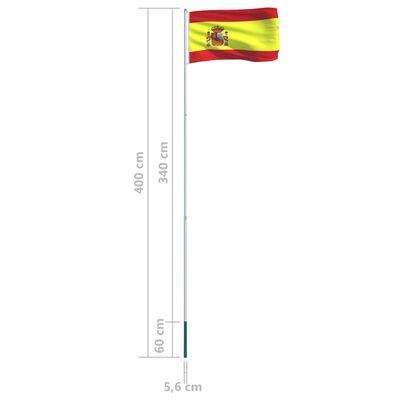 vidaXL Steag Spania și stâlp din aluminiu 4 m