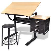 Masă de desen cu blat reglabil cu scaun 3 sertare