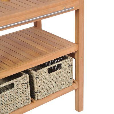 vidaXL Dulap de chiuvetă cu 2 coșuri, 74x45x75 cm, lemn masiv de tec