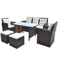 vidaXL Set mobilier de exterior cu perne, 6 piese, maro, poliratan
