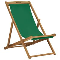 vidaXL Scaun de plajă pliabil, verde, lemn masiv de tec