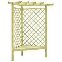 vidaXL Pergolă de colț cu banchetă, 130x130x197 cm, lemn de pin tratat