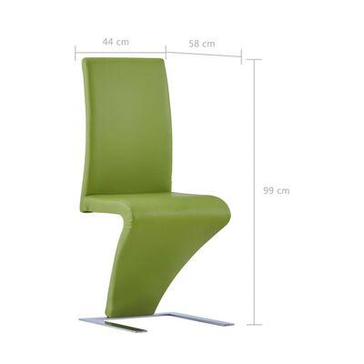 vidaXL Scaune de bucătărie în zigzag, 2 buc., verde, piele ecologică