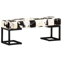 vidaXL Bancă, negru, 110 cm, piele naturală de capră, model petice