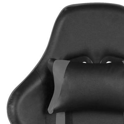 vidaXL Scaun gaming pivotant cu suport de picioare, gri, PVC