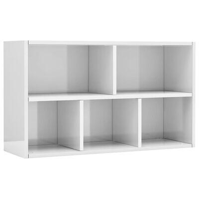 vidaXL Bibliotecă/Servantă, alb extralucios, 50 x 25 x 80 cm, PAL