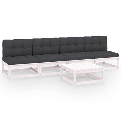 vidaXL Set mobilier de grădină cu perne, 5 piese, lemn masiv de pin