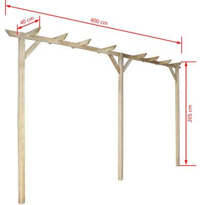 vidaXL Pergolă de grădină, 400 x 40 x 205 cm, lemn