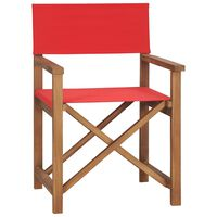 vidaXL Scaun de regizor, roșu, lemn masiv de tec