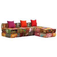 vidaXL Canapea puf modulară cu 3 locuri, petice, material textil