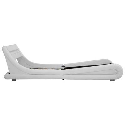 vidaXL Cadru de pat cu LED, alb, 140 x 200 cm, piele artificială