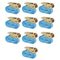 vidaXL Chingi fixare cu clichet 10 buc, 0,8 tone, 4m x 25mm, albastru