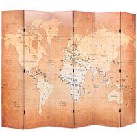 vidaXL Paravan de cameră pliabil, galben, 228 x 170 cm, harta lumii