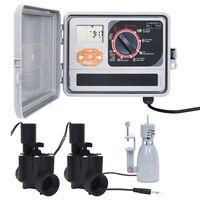 vidaXL Programator de irigare, senzor de ploaie & supapă solenoid