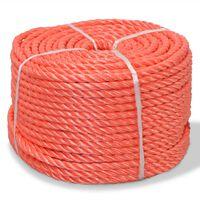 vidaXL Frânghie împletită polipropilenă, portocaliu, 500 m, 10 mm