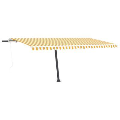 vidaXL Copertină automată cu senzor vânt&LED, galben/alb, 500x300 cm