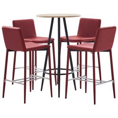 vidaXL Set de bar, 5 piese, roșu vin, piele ecologică