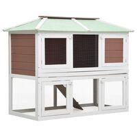 vidaXL Cușcă pentru iepuri și alte animale, 2 niveluri, maro, lemn