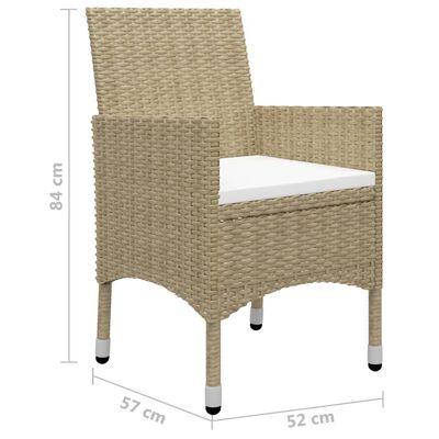 vidaXL Set mobilier de grădină, 3 piese, bej