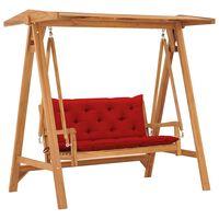 vidaXL Balansoar cu pernă roșu deschis, 170 cm lemn masiv tec