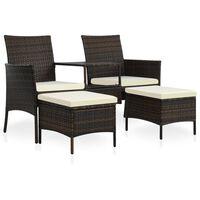 vidaXL Canapea grădină cu 2 locuri cu masă & taburete, maro, poliratan