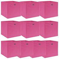 vidaXL Cutii depozitare, 10 buc., roz, 32x32x32 cm, textil