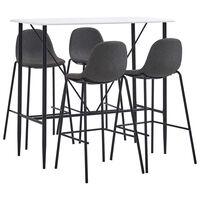 vidaXL Set mobilier de bar, 5 piese, gri închis, material textil