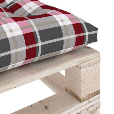 vidaXL Taburet de grădină din paleți, pernă roșu carouri, lemn de pin