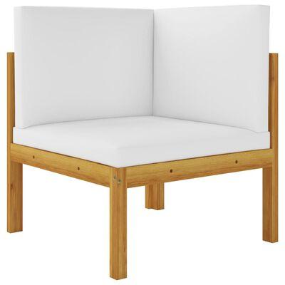 vidaXL Set mobilier grădină cu perne, crem, 8 piese, lemn masiv acacia