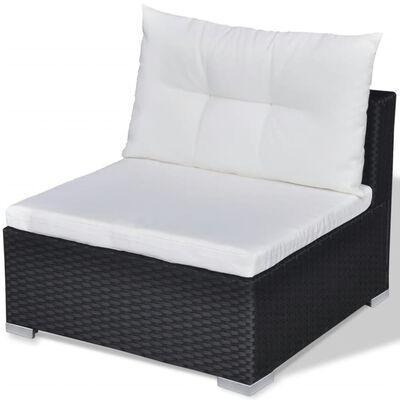 vidaXL Set mobilier de grădină cu perne, 10 piese, negru, poliratan