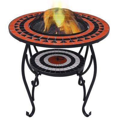 vidaXL Masă cu vatră de foc, mozaic, cărămiziu și alb, 68 cm, ceramică