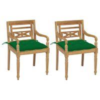 vidaXL Scaune Batavia cu perne verde, 2 buc., lemn masiv tec