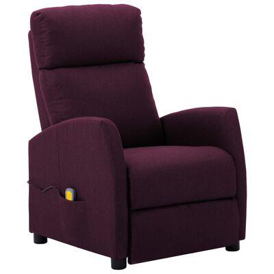 vidaXL Fotoliu rabatabil de masaj, violet, material textil