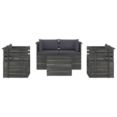 vidaXL Set mobilier grădină paleți cu perne 5 piese lemn masiv pin