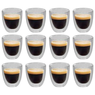 vidaXL Pahar termic perete dublu pentru cafea espresso, 12 buc., 80 ml