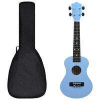 """vidaXL Set ukulele Soprano pentru copii, cu husă, bleu, 23"""""""