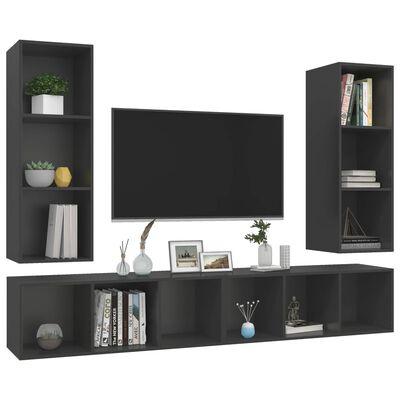 vidaXL Dulapuri TV montaj pe perete, 4 buc., gri, PAL