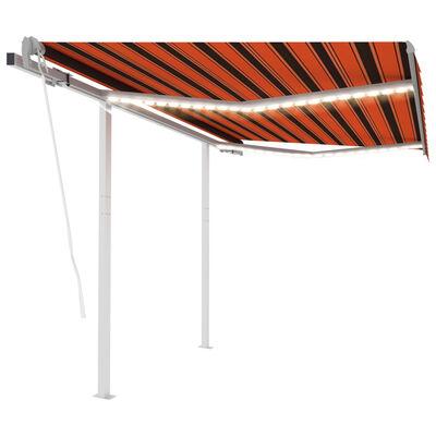vidaXL Copertină automată cu senzor vânt&LED, portocaliu/maro, 3x2,5 m
