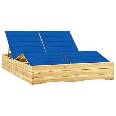 vidaXL Șezlong dublu cu perne albastru regal, lemn de pin tratat