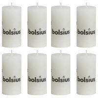 Bolsius Lumânări bloc rustice, 8 buc., alb, 100 x 50 mm