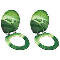 vidaXL Scaune WC capac silențios, 2 buc., verde, MDF, model stropi