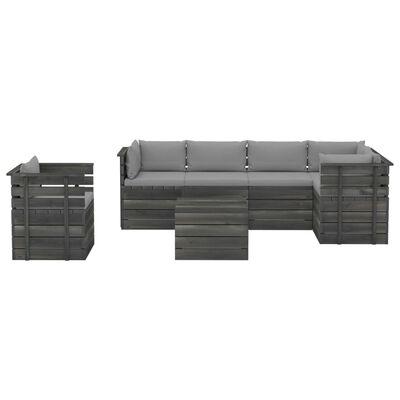 vidaXL Set mobilier grădină din paleți cu perne, 7 piese, lemn molid