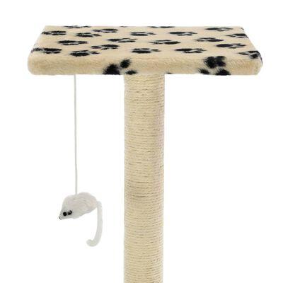 vidaXL Ansamblu pisici, stâlpi funie sisal, 95 cm imprimeu lăbuțe Bej